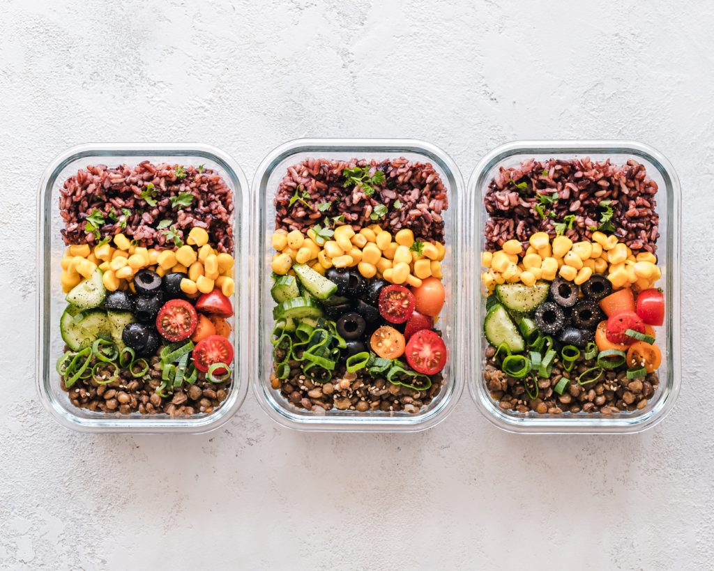 This image shows that Meal prep is simply cooking or semi-cooking a large batch of food it is 1 one of the best meal prepping tips